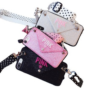 PHT-050 Embroidered Design Glitter Phone Case Luxury Shining Mobile Phone Cover with Back Card Wallet Crossbody Strap Phone Case