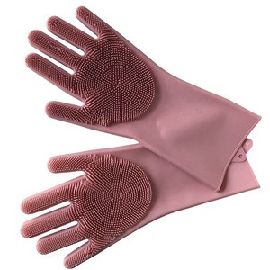 Reusable easy cleaning magic household silicone scrubber gloves