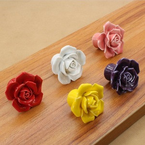 Rose flower cabinet furniture knob handle with mix colors