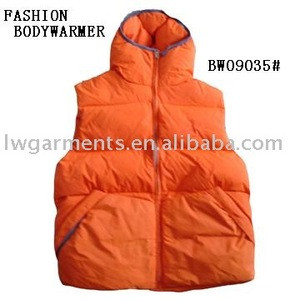 SHINY DOWN VEST WITH HOODED