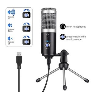 Usb Metal Condenser Recording Microphone for Laptop MAC Windows Cardioid Studio Recording Vocals Voice Overs Streaming Broadcast