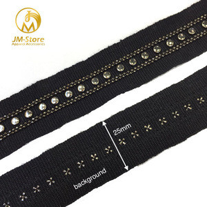 Wholesale fashion style 2.5cm embroidery  beaded metal chain trim for dress decoration HH2001 stocks