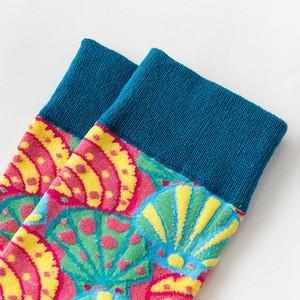 Wholesale Most Popular Men Personalized Cotton Male Dress Customized Socks plaid Painting Sea Shell Fashion Art Socks