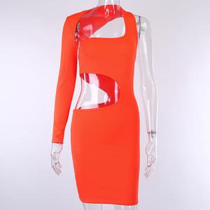 Women's One Shoulder hollow Out Mini Dress Clubwear 2020 New Arrive Nightclub Pick Up club wear dresses neon Colour