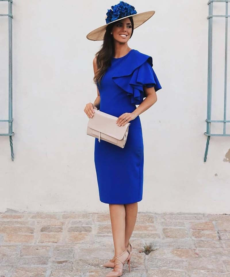 Royal Blue Satin Mother Of The Bride Dresses Plus Size One Shoulder Short Sleeves Keen Length Women Wedding Party Gowns
