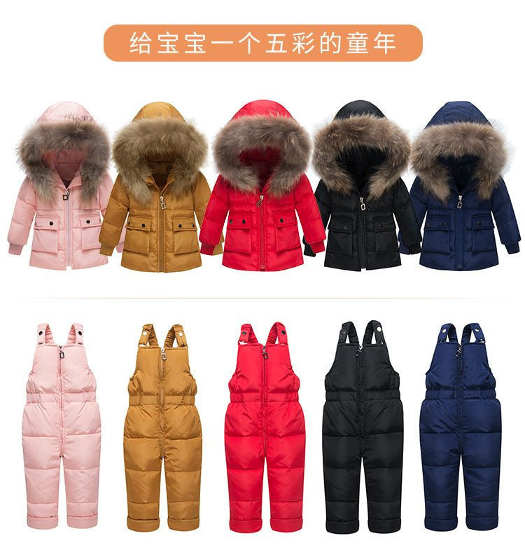 New Winter for Baby Boy Girl Warm Suit Children Duck Down Clothing Set Baby Warm Jacket + Pants Overalls Kids Clothes Snowsuit