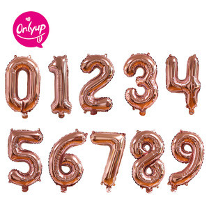 """16"""" Rose gold number party decoration inflating foil balloons for baby girls and boys shower /kids birthday party"""