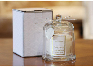 Art home decoration gift candles with private labels, scented candles in glass jar with glass dome