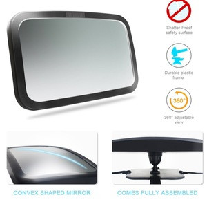 Baby Car Mirror, Safety Car Seat Mirror for Rear Facing Infant with Wide Crystal Clear View, Shatterproof, Fully Assembled, Cras