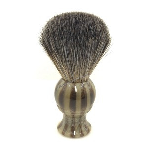Badger Hair Beard Brush Faux Ox Horn Resin Handle Men Shaving Brush