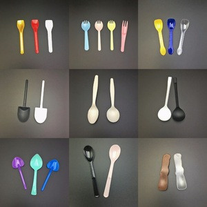 Colorful long handle mini plastic spoon and fork for dessert custom printed disposable PP/PS plastic ice cream spoons