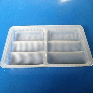 Customized compartments disposable food grade PP blister packaging tray for sea food