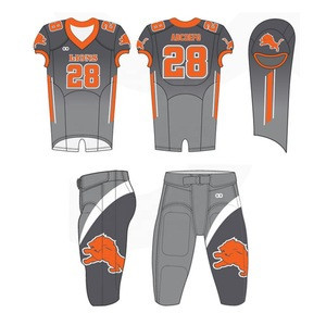 Customized High quality American Football Uniform, 100% Polyester made of 4 way Stretch Fabric with Polyester Spandex