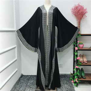 Luxury kimono robe strass stone muslim dresses islamic modern women clothing abaya
