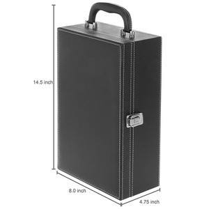 Manufacturer leather Travel Wine Carrier Case for two bottles with 4 Piece Wine Accessory Set
