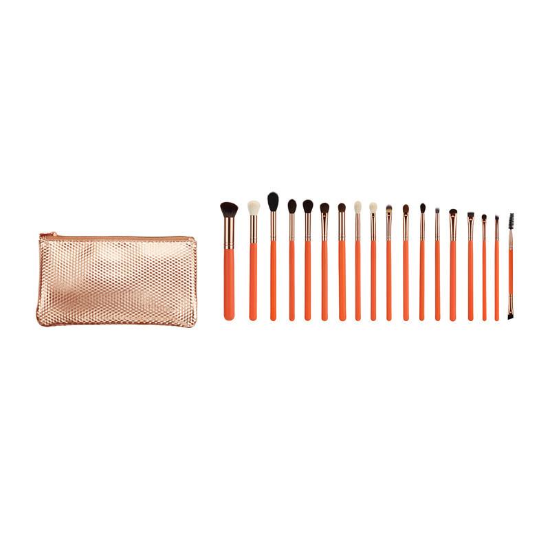 Professional Natural Hair 18PCS Cosmetic Makeup Brush Set with Pink Handle