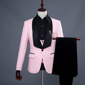 Red White Pink Suit Men Slim Fit Shawl Collar Men Suits For Wedding Fashion Jacquard 3 Piece Prom Suits