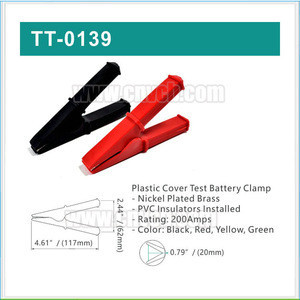 TT-0139 200A large duty battery booster clamp/large size rubber alligator clamps crocodile clip for car