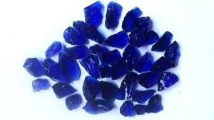 Tumbled deep blue glass rock rolling dull glass block garden landscaping