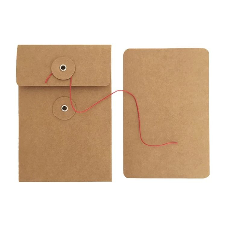 Custom printing packaging black brown kraft paper envelope with button and string