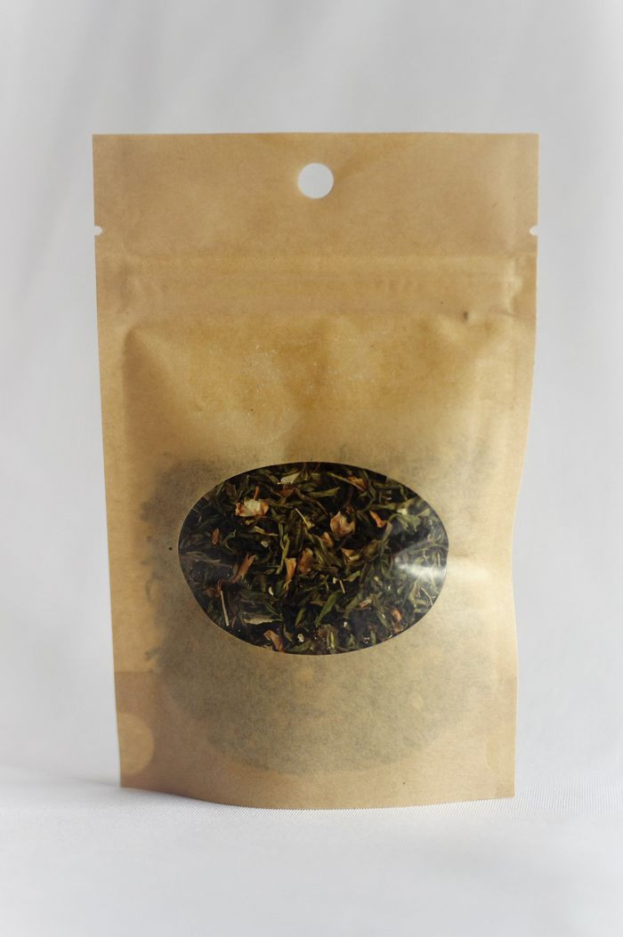 Tea, herbs, coffee, resin retail common packaging paper laminated stand up zipper pouch with clear window
