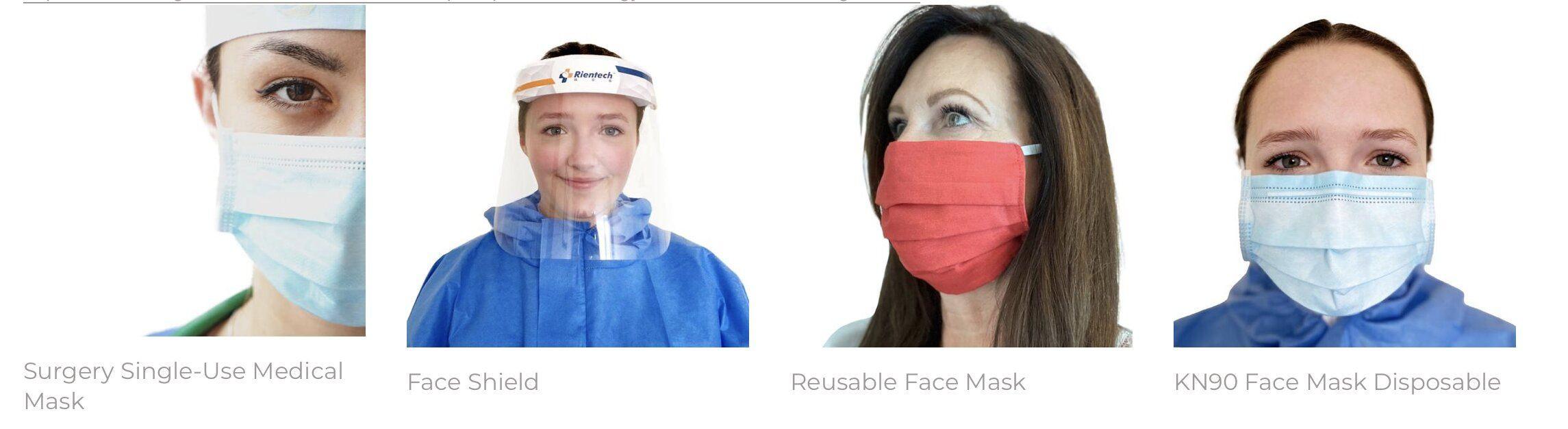 KN90, KN95, 3M, Children's Facemasks, face shields, nitrile gloves