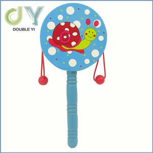 16cm wooden animal cute classic traditional baby rattle for promotional