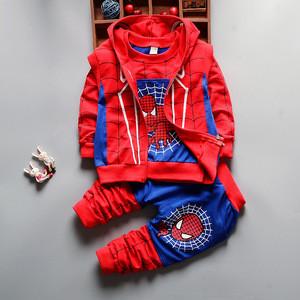 Autumn Boys Clothing Sets Kids Coat jacket+T Shirt+Pants 3 Pcs Children Sport Suits Baby Boys Spider Man Clothes Set