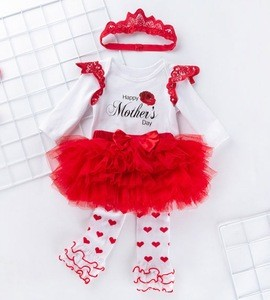 Baby clothing  sets 100% organic cotton 4-piece baby princess baby clothing set girls