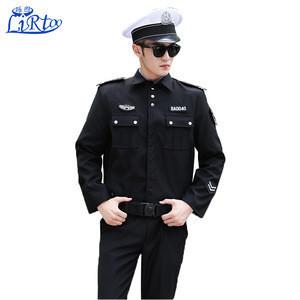 Cheap long sleeve security guard uniforms black