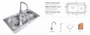 Fapully Family kitchen Double bowl good quality stainless steel handmade kitchen sink