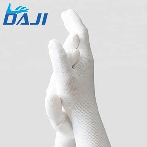 Fashion white nylon mittens knit work mesh gloves