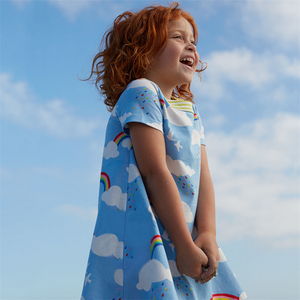 Girls Dresses Western Designs Baby Girls Clothing Dress Rainbow Printed Short Sleeve Summer Dress