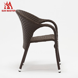 Leisure Style Aluminum Frame Rattan Wicker Restaurant Hotel Dining Chair