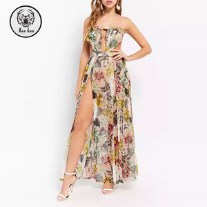 New Design Women Prom Dress Summer Printing Sheer Floral Maxi Prom Dress