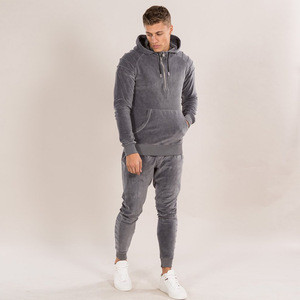 New stylish plain cotton bulk velour sweatsuit custom velvet tracksuit men