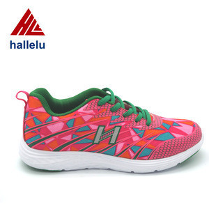 Printing Nylon High Elastic EVA Outsole Sport Shoes Lace Up Colorful Summer Body Building Running Shoes