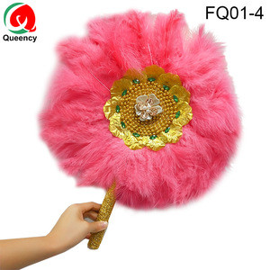 Queency Ostrich Feather  Fans Wholesale Large Colorful Hand Fans For Wedding or Party