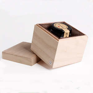 Rustic raw wood rectangle square shape honey bottle packaging boxes handmade gift box