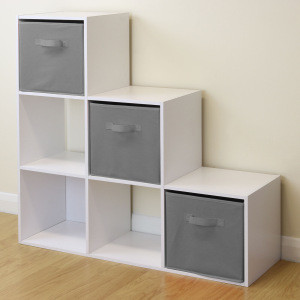 White 6 Cube Kids Toy games Storage Unit Girls and boys Bedroom 3 tier shelf Grey Boxes Cabinet