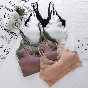 Wholesale cotton sexy V neck lace ladies underwear comfortable padded sports bra
