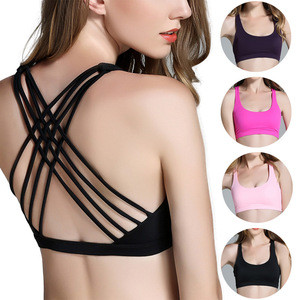 Wholesale women sexy cross design yoga bra Oem logo gym sport bra