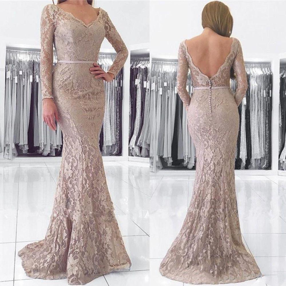 Modest Lace Off The Shoulder Long Sleeves Mother Of The Bride Dresses Mermaid Floor Length Evening Dresses Gray V Neck Mother Formal
