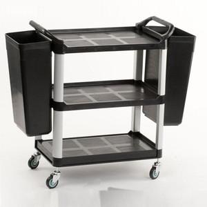 3 shelf plastic bussing cart,  hotel trolley for restaurant