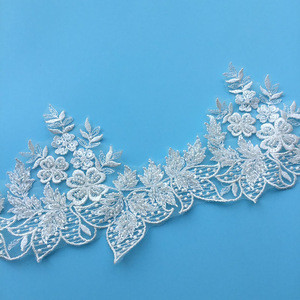 3D Beaded Flower Graceful Pattern Embroidered Lace Trim For Bridal Wedding Veils Or Garters