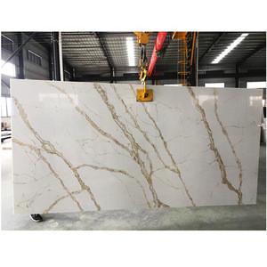 Calacatta Gold Artificial Quartz Stone Slab  Artificial Stone For Kitchen Countertop