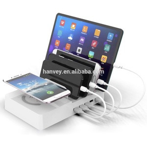 Factory price wholesale custom Multiple 5 USB magnetic mobile phone universal headset charger Wireless Charging Dock Station