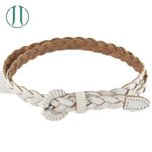 Fashion Knitted Leather Belt Braided Stripe Webbing Belt