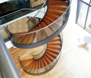 Indoor Stairs Design Customizable Modern Staircase Hardwood Stairs Solid Wood Tempered Glass