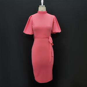 Lantern Short Sleeves Bodycon Hip Elegant Sashes Office Career Lady Dress